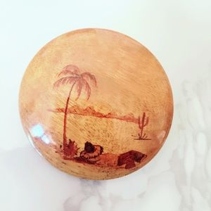 Wood Island Tropical Palm Tree Pin Brooch Vintage